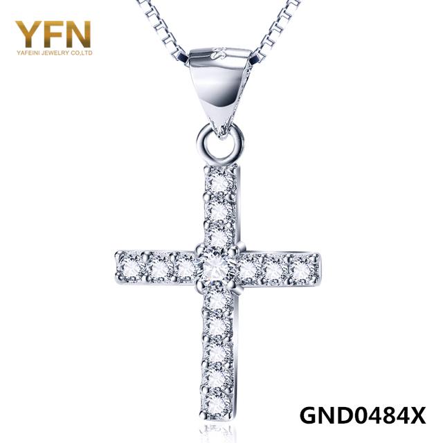 100% Real Pure 925 Sterling Silver Cross Collar de la Buena Suerte de La Joyería Cubic Zirconia Colgante Collar Para Las Mujeres GND0484X