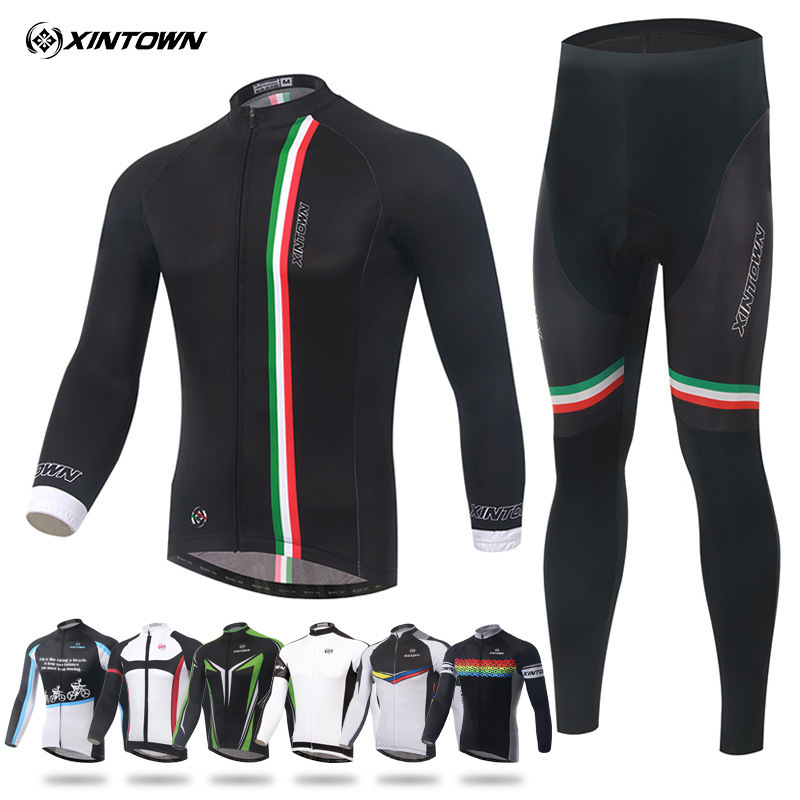 XINTOWN Spring Autumn Pro Team Cycling Jersey Sets Long Sleeve Bicycle Bike Clothing Cycle Bib Pantalones Ropa Ciclismo Invierno veobike winter thermal brand pro team cycling jersey set long sleeve bicycle bike cloth cycle pantalones ropa ciclismo invierno