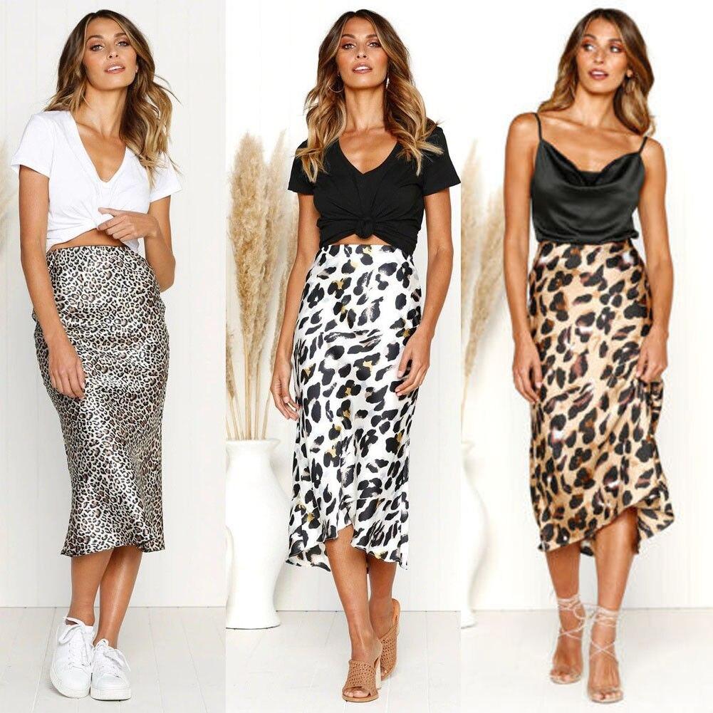 Vintage Women Stretch High Waist Skirts Plain Skater Flared Pleated Long Skirt  Ladies Leopard Package Hip Slim Pencil Skirt