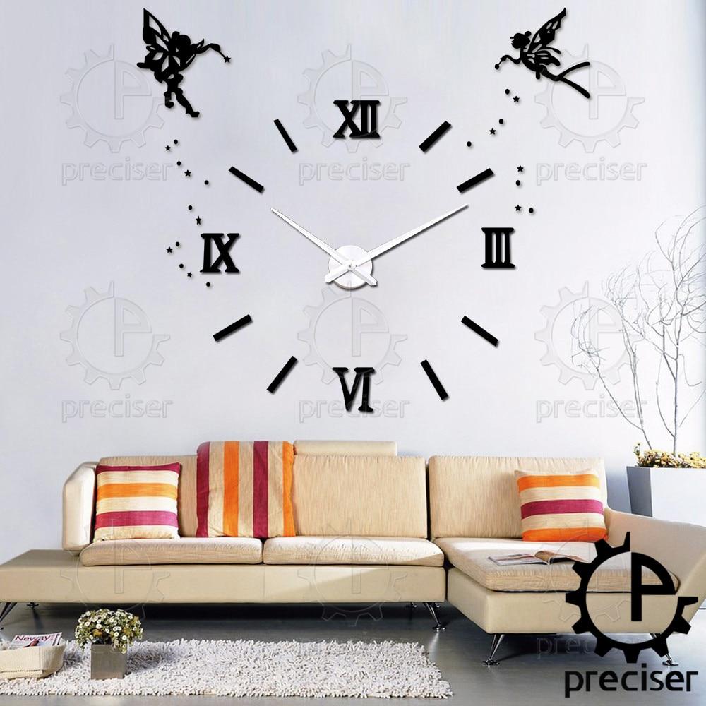 Angel Wings Princess 2016 3D Diy Wall Clock Roman Numbers Mirror Analog DIY  3D Large Number
