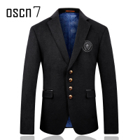 Oscn7 Preppy Look Slim Fit Men's Wool Blazer Winter Cashmere Solid Mens Blue Jackets Formal Wedding Men Blazers and Jackets 2017