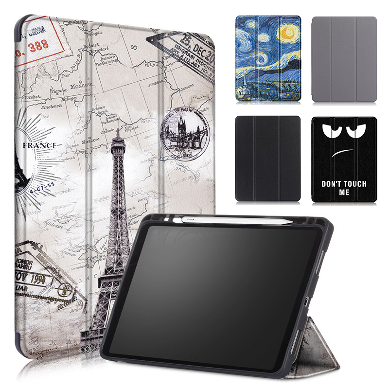 For IPad Pro 11 Case With Pencil Holder 2018 Premium PU Leather TPU Soft Cover For IPad Pro 11 2018 Case Vintage Tower Painted