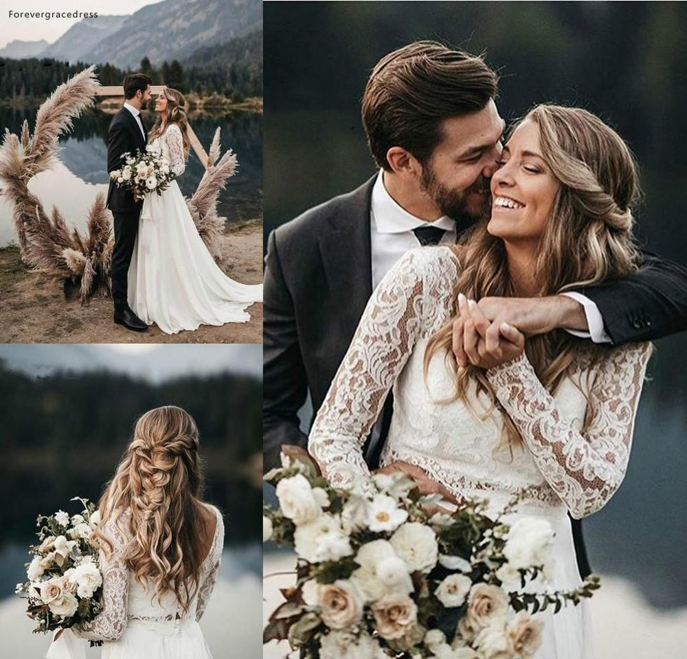 Long Sleeves Lace Boho Wedding Dresses 2019 Vintage Bohemian Beach Garden Country Bride Bridal Gowns Custom Made Plus Size
