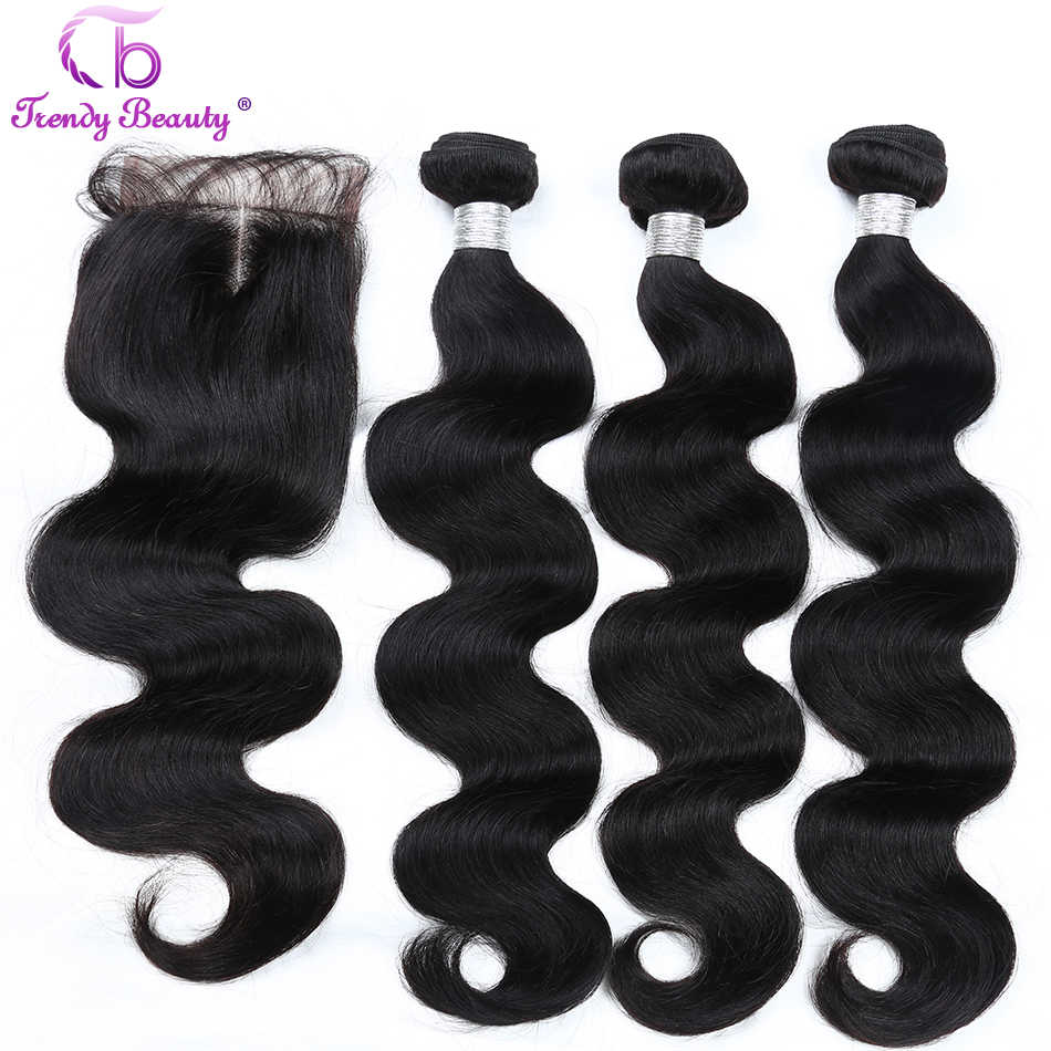 Trendy Beauty Brazilian body wave hair 3bundles with closure human hair extension color 1B Non-remy hair weave bundles free ship