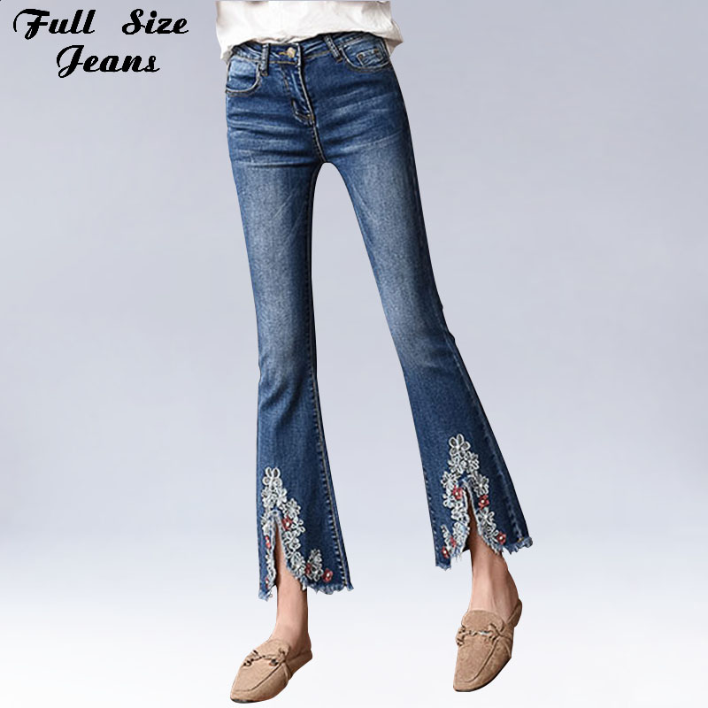 Plus Size Embroidered Ankle Length Flare Jeans