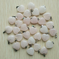 2016 fashion pink natural rose quartz  crystal stone charms heart pendants for jewelry making 16mm 50pcs/lot  Wholesale free