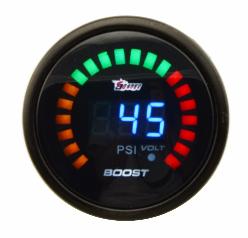 DRAGON GAUGE PSI 52MM Boost Turbo Gauge Black Color Analog Digital Blue Led