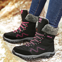 Keep Warm Plush Snow Boots Women Winter Wedges Cow Suede Lace Up Ankle Boots Ladies Round Toe Black Shoes Female Botines Mujer цена