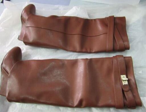 Femmes de luxe marque genou bottes hautes concis en métal décoration robe bottes ceinture boucle Wedge talon bottes gladiateur chaussures US10 - 6