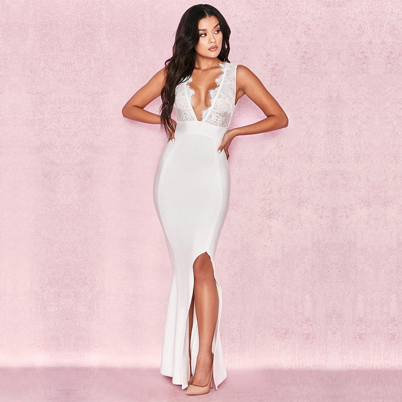 Elegant <font><b>White</b></font> Long Evening Party Lace <font><b>Dress</b></font> <font><b>2018</b></font> <font><b>New</b></font> Model <font><b>Fashion</b></font> Sleeveless <font><b>Sexy</b></font> Deep V Neck <font><b>Backless</b></font> Bandage <font><b>Dresses</b></font> Vestidos image