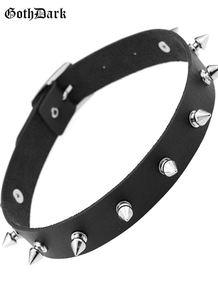 Goth Dark Black Puck Harajuku Choker Necklace Gothic Buckle Metal Silver Harajunku Rivet Women's Fashion Necklaces Rock Collars