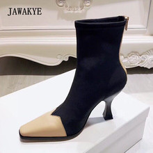 2018 el más nuevo Stretch Sock botas de cuero de las mujeres del dedo del  pie cuadrado Patchwork extraño zapatos de tacón Zapato. 44912ad31f5b