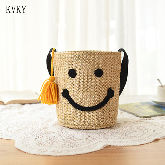KVKY 2018 Summer Beach Drawstring Bucket Shoulder Bag Smiley Handbag Women Crochet Straw Beach Bags Travel Bolsos Femininas