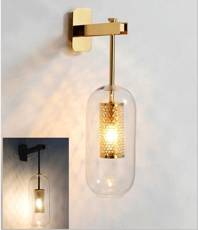 Post modern Luxury Glass Wall Lamp Nordic Wall Lights for Living Room Bedroom Bedside Lamps Indoor Lighting Fixtures Decoration