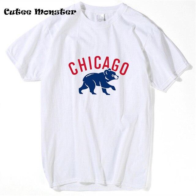30d84a049 Men Chicago Cubs 2018 World Series Champions logo T-shirt Tees Male Summer  Sportwear Short Sleeve Bear T Shirt 3XL