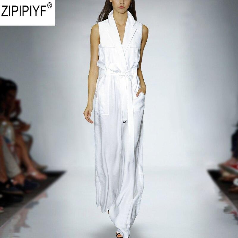 2018 Long White Rompers Women Jumpsuit Summer Party V neck Sleeveless Bodycon Vest Jumpants Trousers Playsuit Feminino C1889