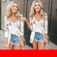 2019 Spring Fashion Women Jackets Printing Turn down Collar Blouse Suit Feminino Floral Notched Pockets Casual Slim Jacket N410