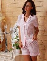 Kadın Pijama Pamuk Pijama Şort Pembe Çizgili Pijama Kadınlar için Ev Giyim Şort Set Yaz