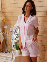 Women Sleepwear Cotton Pajama Shorts Pink Striped Pijama Shorts Set for Women Home Clothing Summer