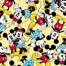 Милый мультфильм Микки и Минни Ткань хлопок желтый Микки и Минни набивная ткань лоскутное шитье материал Diy Одежда