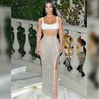Promi Kim Kardashian Sexy Abend Paty Kleider Frauen Zweiteilige Kleid 2017 Neue Mode Bustier Splitter High Split