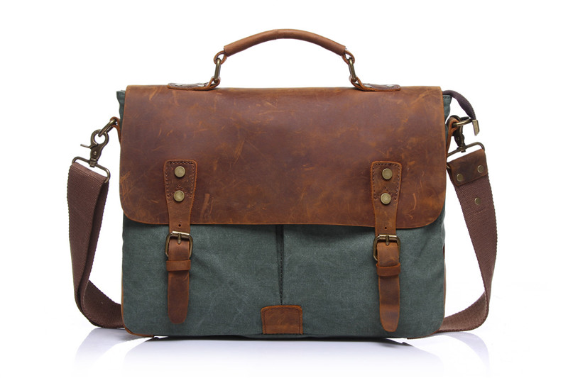 Nesitu Vintage Grey Green Coffee Khaki Blue Canvas Women Men Briefcase Portfolio Crazy Horse Leather Men Messenger Bags #M1807