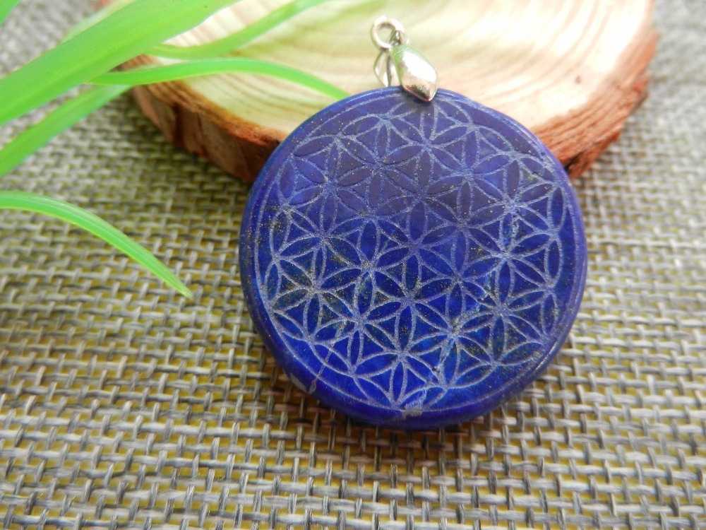 Drop shipping Natural Lapis lazuli Quartz Crystal Flower of Life Pendant Carved Healing Free shipping 6 pcs of carved lapis lazuli fashion pendant cabochons 20x5mm 26 7g