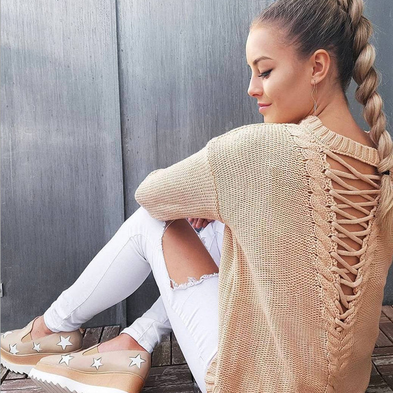 Lace Up Sweaters Lady Long Loose Sleeve Cotton Casual Sweater