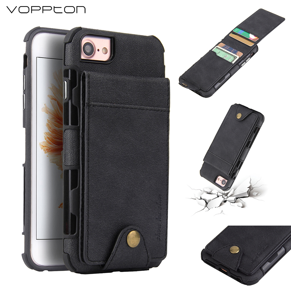 Voppton Luxury Leather Wallet Phone Bag Case For iPhone 6 6S 7 8 Plus Case Card Slot Fabric Coque For iPhone 6 6S 7 8 fundas