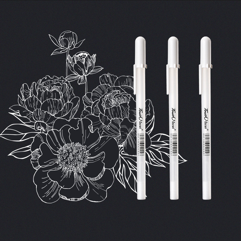 0.7mm Hightlight Brush Pen Black Card White Marker Pens Art Hand-painted Pen Sketch Pens For DIY Drawing Graffiti Art Supplies