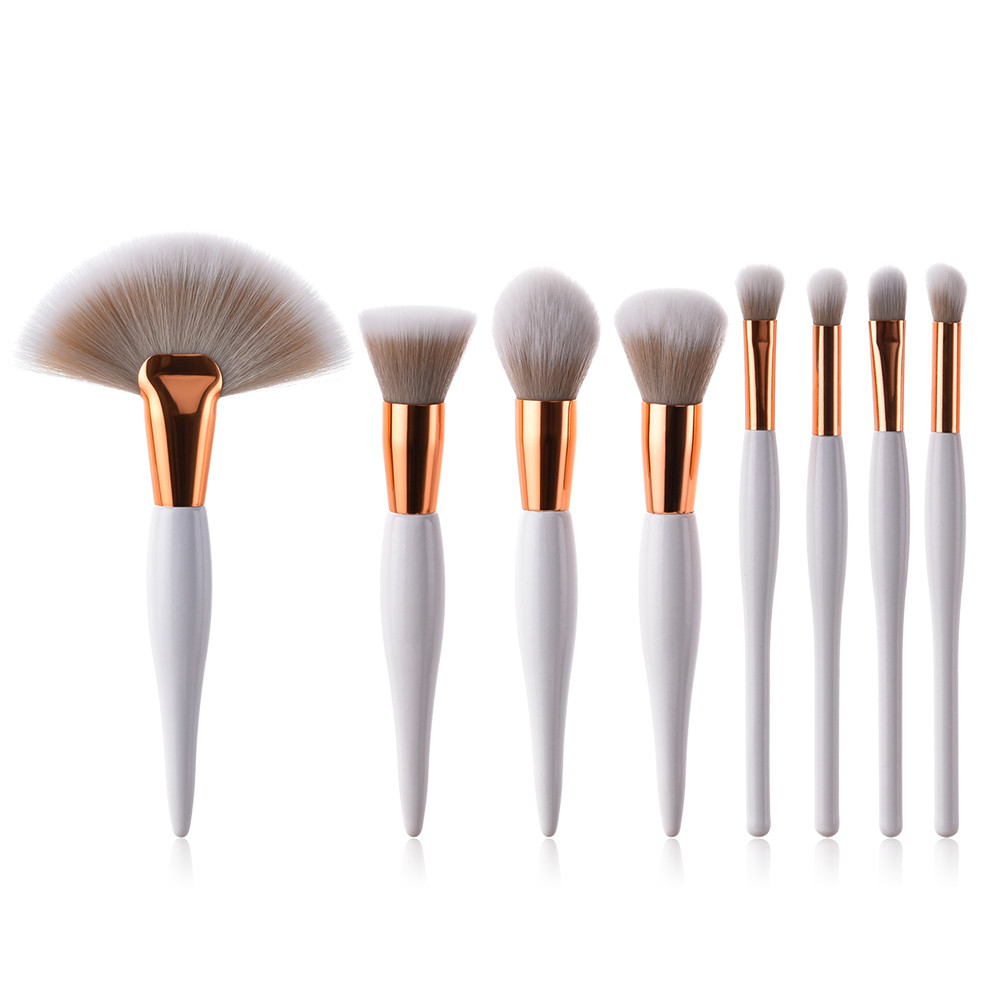 8 pcs Professional Makeup Brushes Set Foundation Eyeshadow Eyeliner Lip Brush Tool White Black Cosmetic Tool Drop Shipping 1j19 free shipping by ems dhl 50 set lot new fiber hairy 32 pcs professional makeup brushes cosmetic set black leather bag
