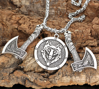 Nordic Viking Odin'S Wolf And Raven Rune Axe Circle Pendant Necklace  Viking Necklace