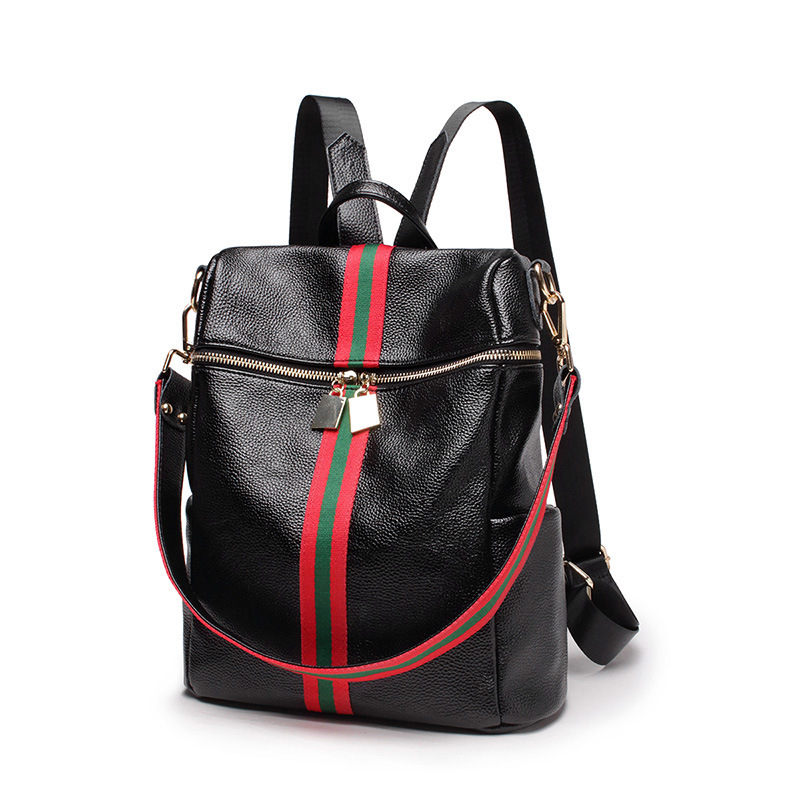 купить Ladies Rucksack Striped Fashion School Bags For teenage girls Genuine Leather Backpack women Travel Shoulder Bag sac femme dos по цене 1585.36 рублей