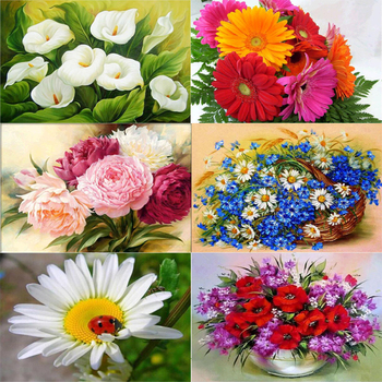 Flower arranging 5D DIY diamond Painting flowers  Cross Stitch diamond embroidery mosaic diamonds wall stickers home decor vase