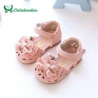 Claladoudou חדש אביב קיץ נסיכת תינוק סנדלי נעלי עור ילדה חלול חרטום חמוד ורוד לבן 0-6 שנים בייבי לפעוטות