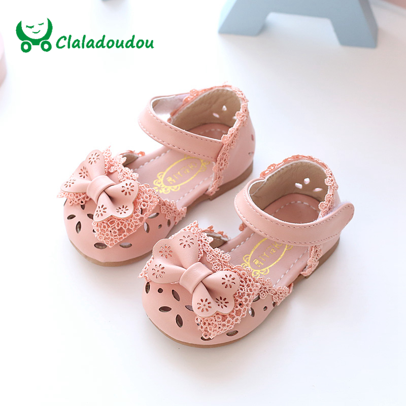 Claladoudou New Spring Summer Princess Baby Sandals Cute Bow Hollow Girl Leather Shoes 0 6 Years