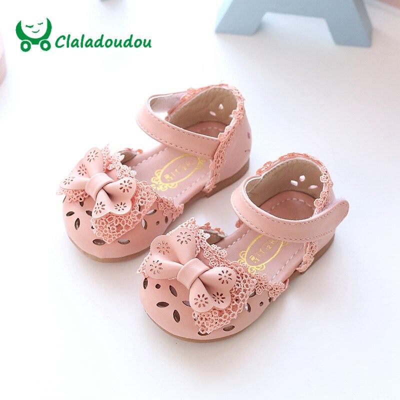 Claladoudou Nouveau Printemps D'été Princesse Bébé Sandales Mignon Arc Creux Fille En Cuir Chaussures 0-6 Ans Rose Blanc bébé Enfant En Bas Âge