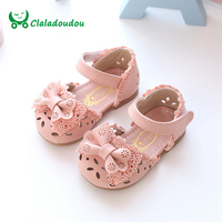 Claladoudou New Spring Summer Princess Baby Sandals Cute Bow Hollow Girl Leather Shoes 0 2 Years