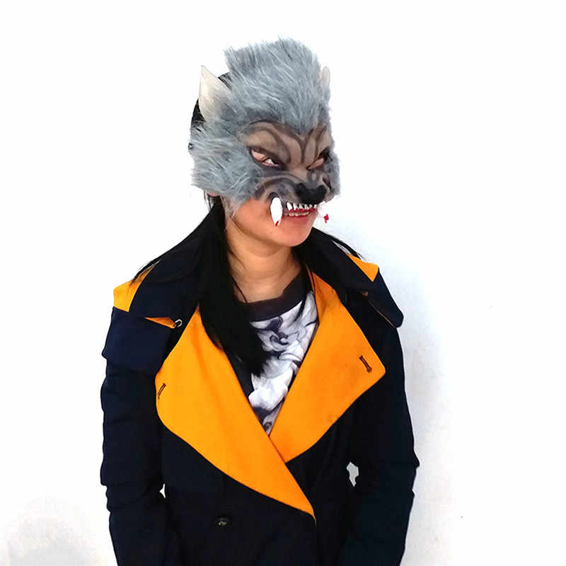 Latex Funny Horror Scary Animal Halloween Wolf Mask With Hair Cosplay Masquerade Masks Half Face Werewolf Party Mask Decoration