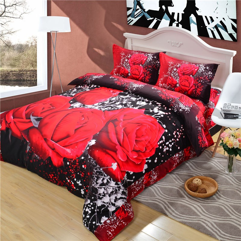 Uihome 2017 chic new bedding sets queen oil painting print bedclothes sets flowers bed set duvet cover set Uihome 2017 chic new bedding sets queen oil painting print bedclothes sets flowers bed set duvet cover set