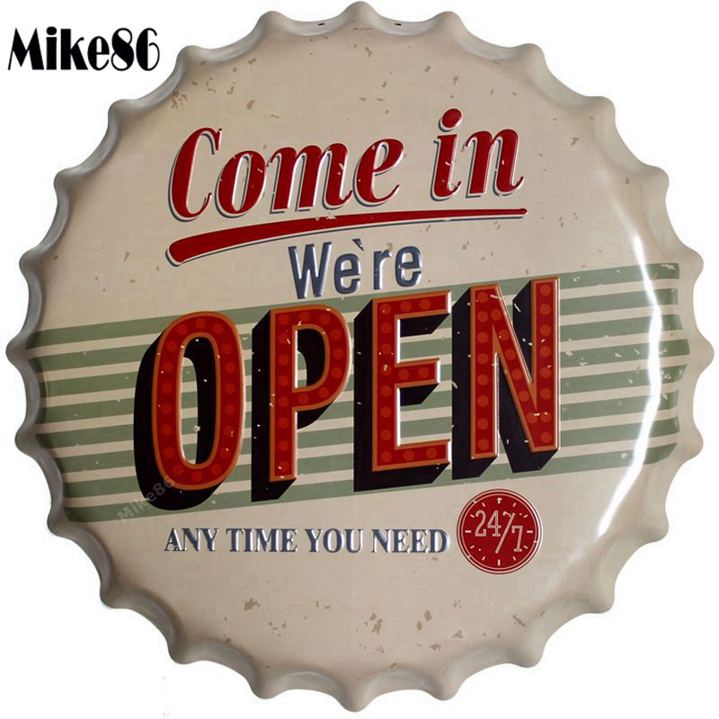 [ Mike86 ] Come In Open Bottle Cap Metal Painting Retro Plaque Pub Home Gift Party Office Store Wall Decor 40 CM BG-3