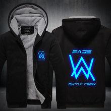 Новый для мужчин зимние куртки и пальто для будущих мам выцветшие Alan Walker Толстовка светящиеся толстые толстовки на молнии M-5XL высокое