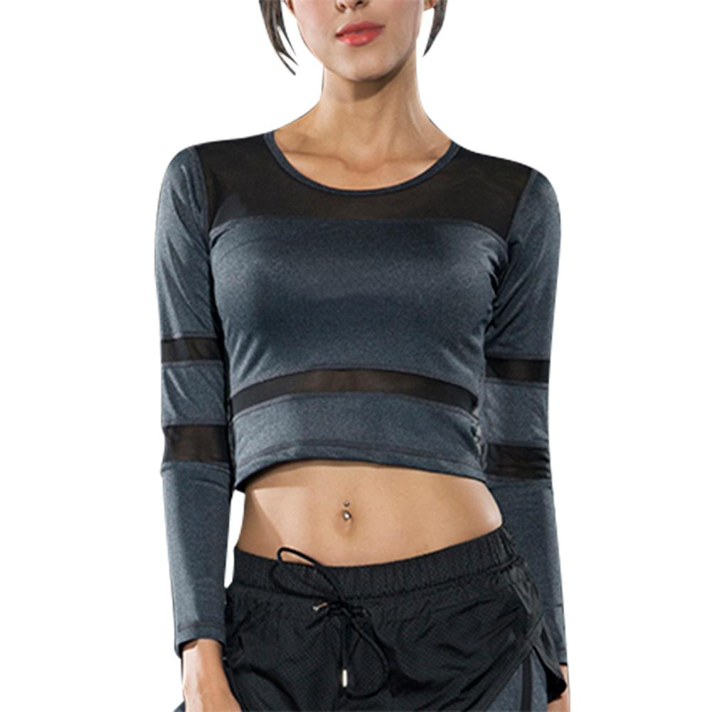 b69ffd44ff0 Aliexpress.com : Buy Women Sports Mesh Breathable Long Sleeve Yoga Shirt  Fitness Gym Running Training Short Style Undershirt Crop Tops from Reliable  Yoga ...