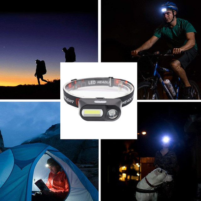 Outdoor camping Portable mini XPE+COB LED Headlamp USB charging Fishing headlights flashlight 5