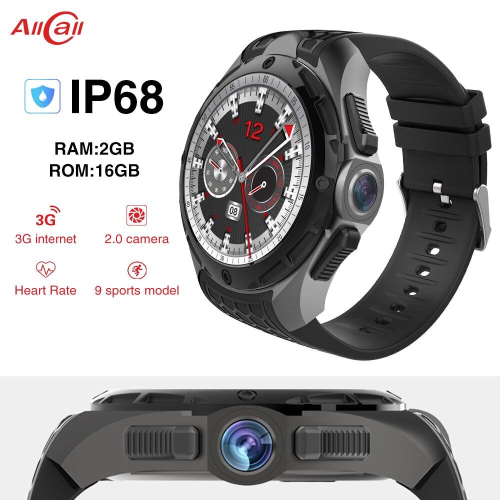 ALLCALL W2 MTK 6580 Quad-core 1.3 GHz 16 GB + 2 GB 2MP caméra 1.39 pouces AMOLED écran Nano SIM WIFI BT4.0 GPS 3G montre intelligente téléphone