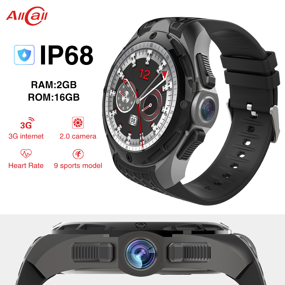 Original ALLCALL W2 MTK6580 Quad-core 16GB+2GB 2MP Camera 1.39-Inch Nano SIM WIFI BT4.0 GPS IP68 Waterproof 3G Smart Watch Phone