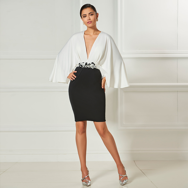Tanpell sheath short cocktail dress v neck long sleeves above knee dress women party homecoming formal