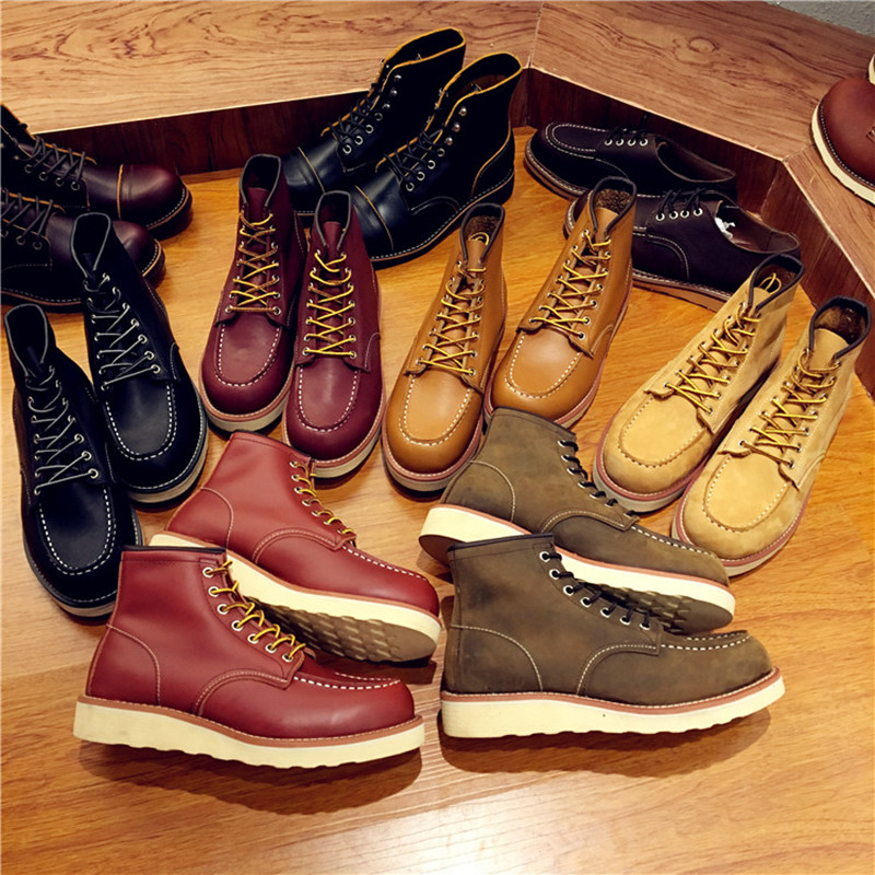 Vintage Men Boots Lace-Up Genuine Leather Boots Wing Men Handmade Work Travel Wedding Ankle Boots Casual Fashion Red Boots 875 new fashion men boots motorcycle handmade wing genuine leather business wedding boots casual british style wine red boots 8111