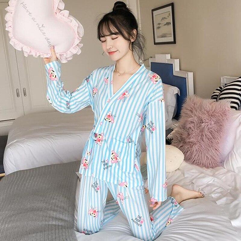 Women   Pajamas     Sets   silk satin Sleepwear Autumn Winter Female 2piece Suit Long Sleeve Pyjamas Velvet Nightie Cute Home Clothes