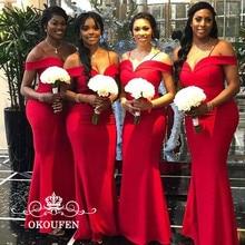 Mermaid Red Bridesmaid Dresses For Women Off Shoulder Custom